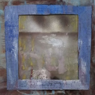 50x50 cm, Collage, Mischtechnik auf Pappe und Papier, gerahmt hinter Glas, 2016