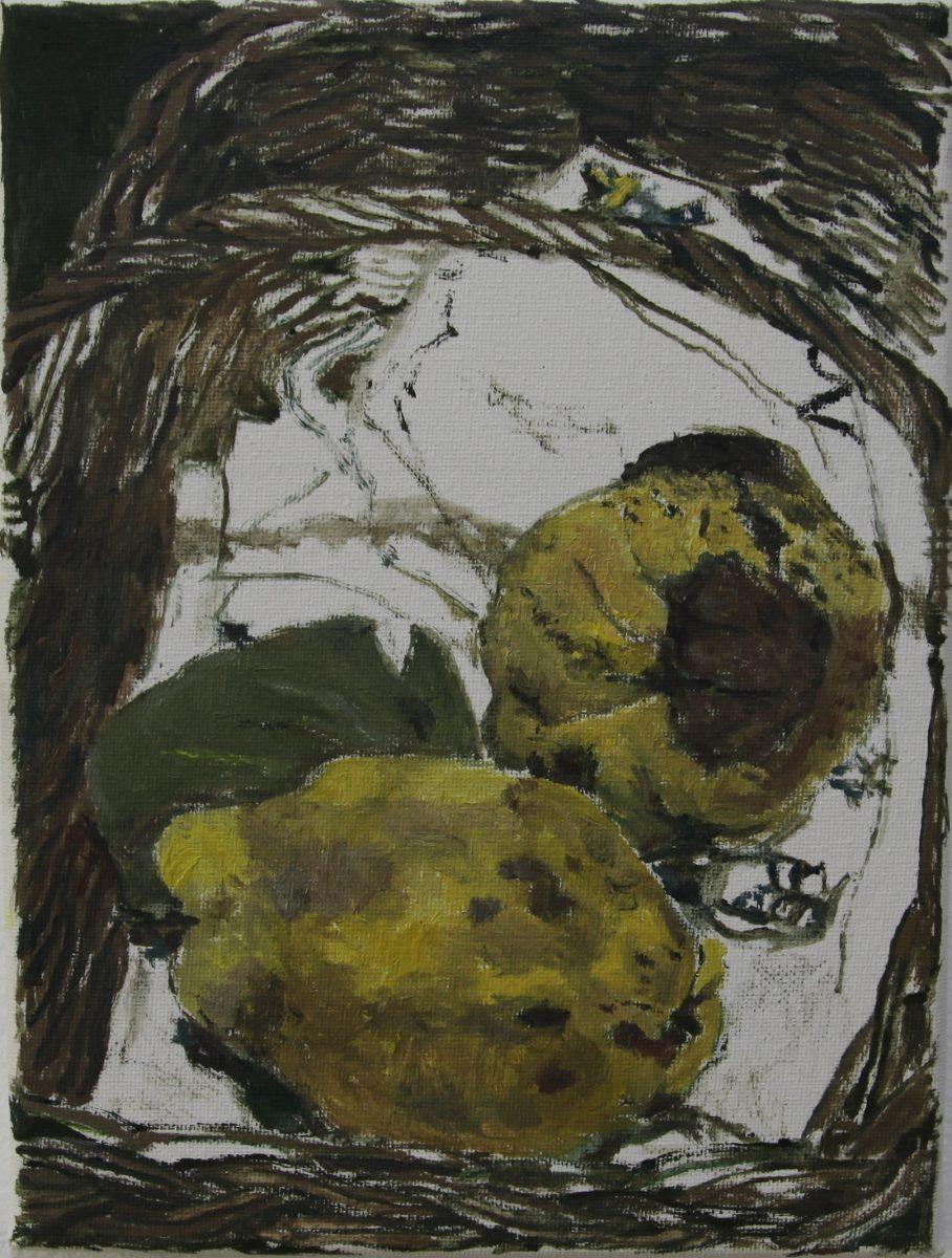 Gabis Quitten 2, 2021, 18 x 24 cm