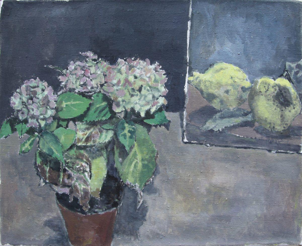 Quitten und Hortensien, 2021, 38 x 31 cm